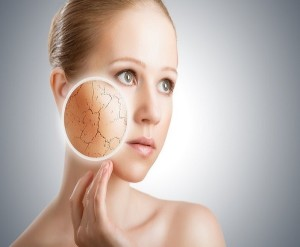 Concept of cosmetic skin care - face of young woman with dry skin